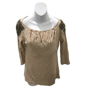 Deletta Tan Long Sleeve Embellished Shoulder Top